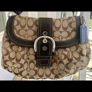 Coach signature shoulder handbag brown/silver